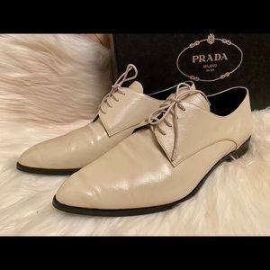 PRADA Saffiano Lace Up Lady Oxfords Size IT 37.5
